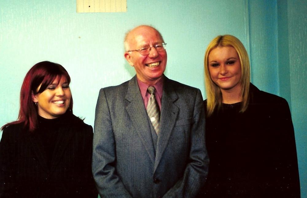 10-02-2001 Halifax Town 3-4 Mansfield Town 2 Jack Haymer with office staff.jpg