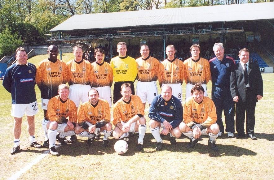Squad photo of the Northern Intermediate-winning side before the Halifax Town Supporters' Trust benefit game on Sunday 5 May 2002 at the Shay.jpg