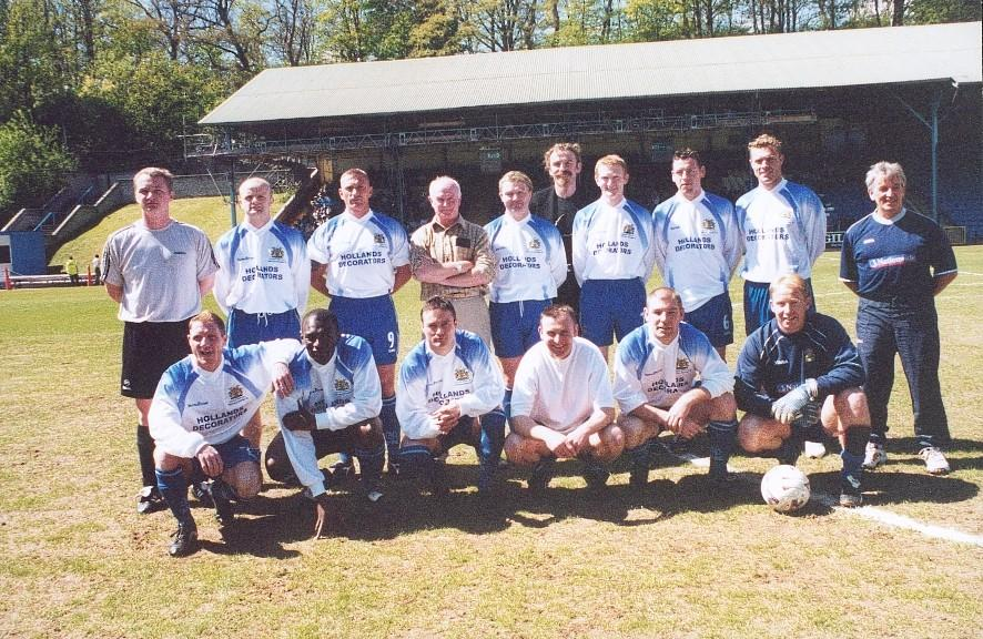 Squad photo of the Vauxhall Conference-winning side before the Halifax Town Supporters' Trust benefit game on Sunday 5 May 2002 at the Shay.jpg